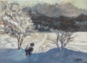 Puppy in the Snow Monica Jones Artist Ireland Oil Painting Print